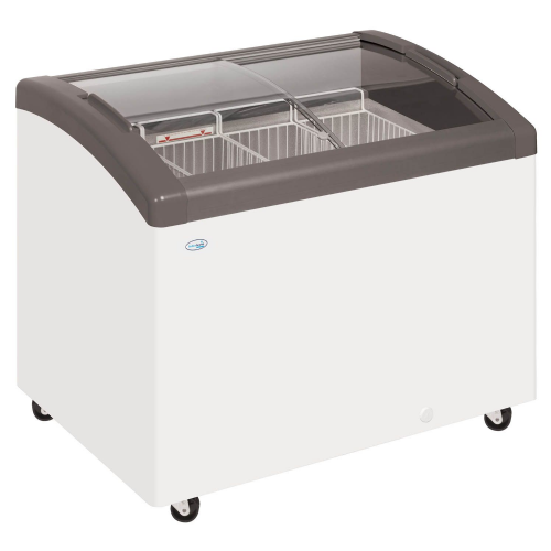 Elcold FOCUS 73 GREY Sliding Curved Glass Lid Chest Freezer